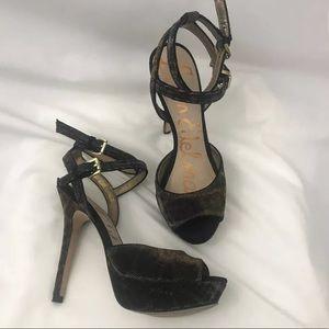 Sam Edelman Strappy Peep Toe Metallic Animal Heels